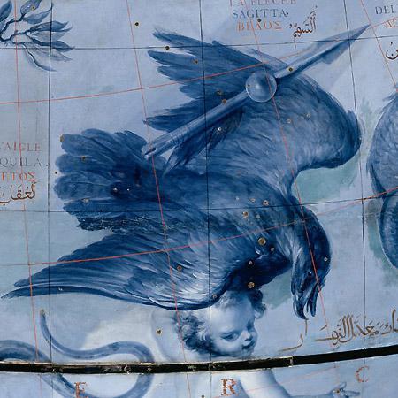 Созвездия Стрелы и Орла на небесном глобусе Коронелли